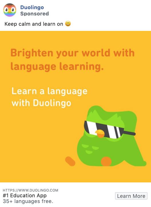 Duolingo B2B and service-focused Facebook ad example