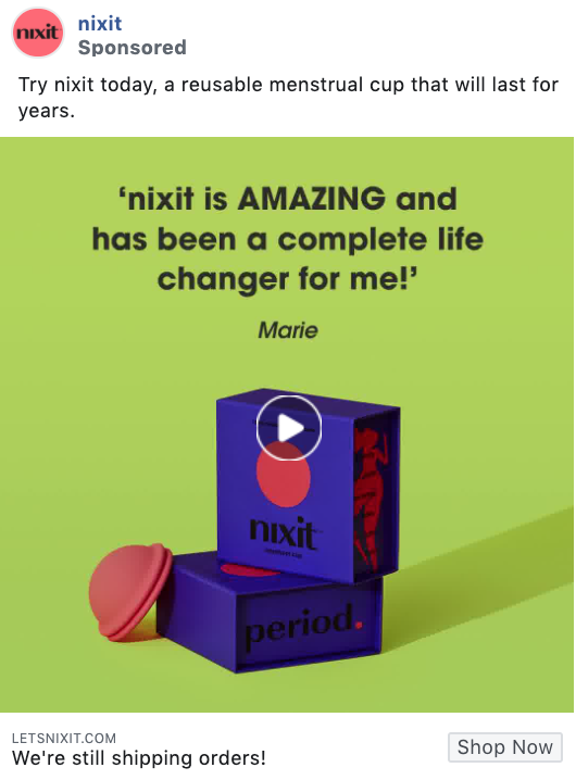Nixit social proof and testimonial Facebook ad example