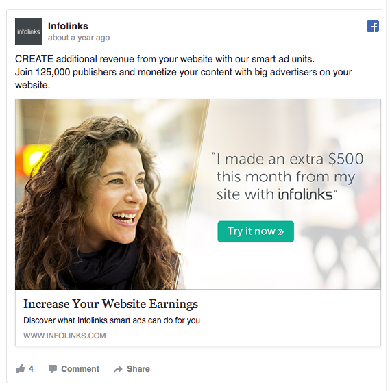 Infolinks uses real testimonials from real people in ads