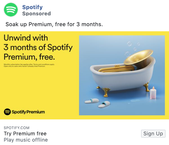 Spotify promotional offer Facebook ad example