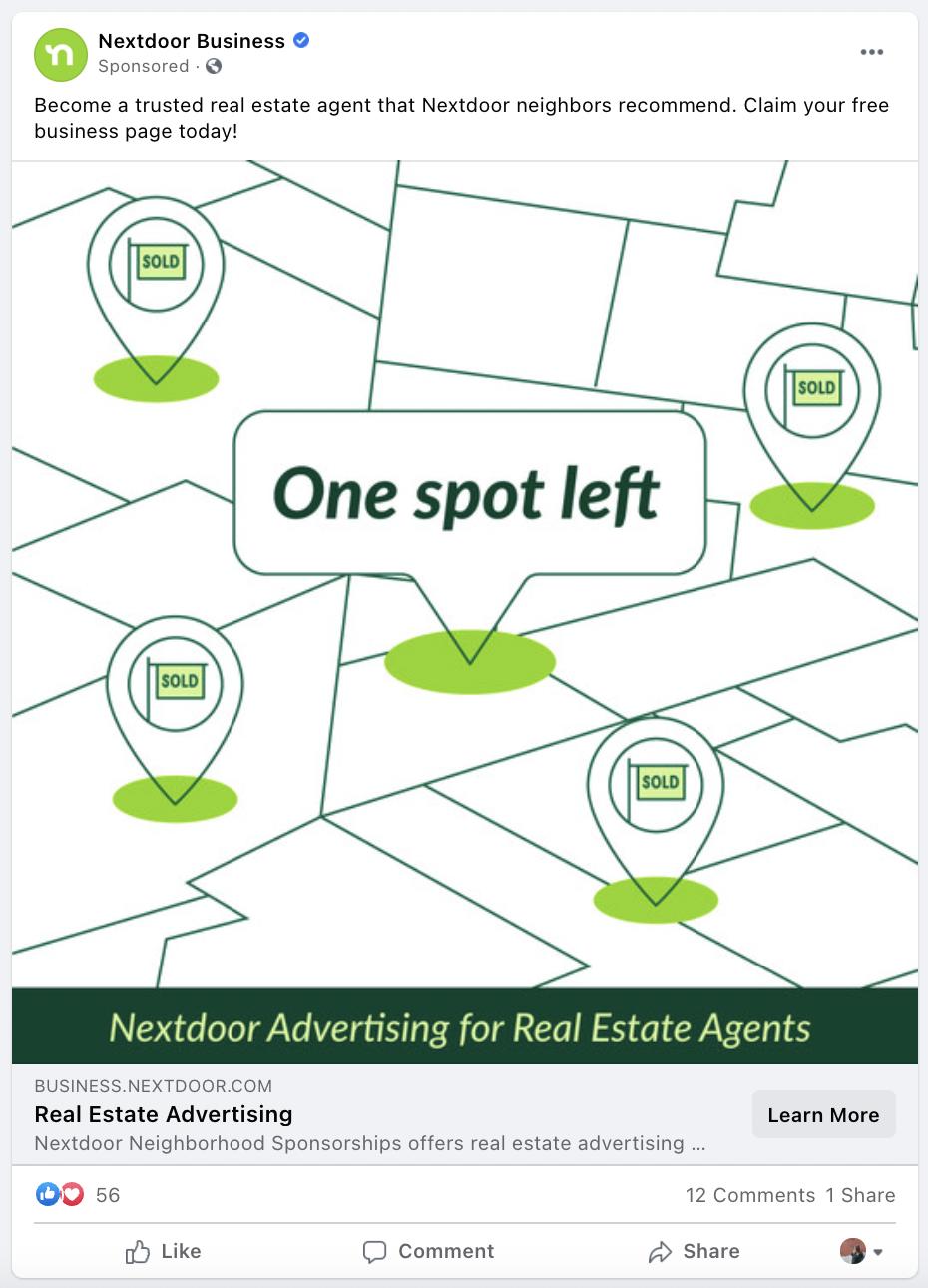 Nextdoor best Facebook brand awareness ad example
