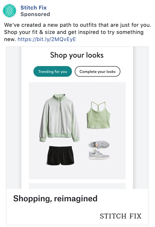 Stitch Fix Facebook consideration and lead generation ad example