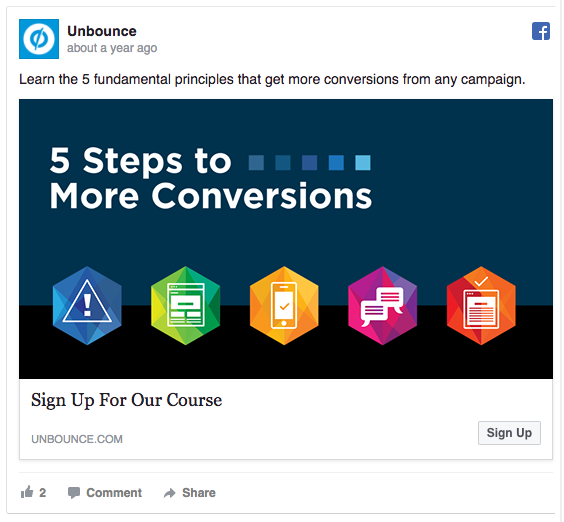 Unbounce Facebook consideration and lead generation ad example
