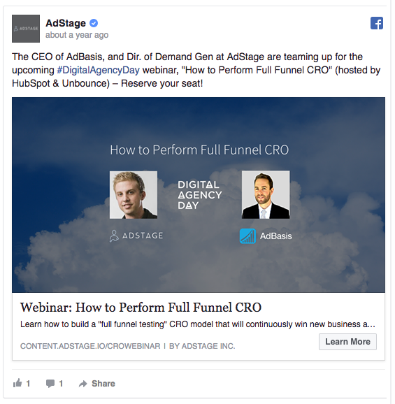 AdStage Facebook consideration and lead generation ad example