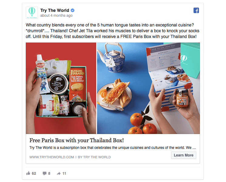Try the World Facebook consideration and lead generation ad example