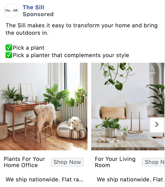 The Sill best Facebook conversion ad examples
