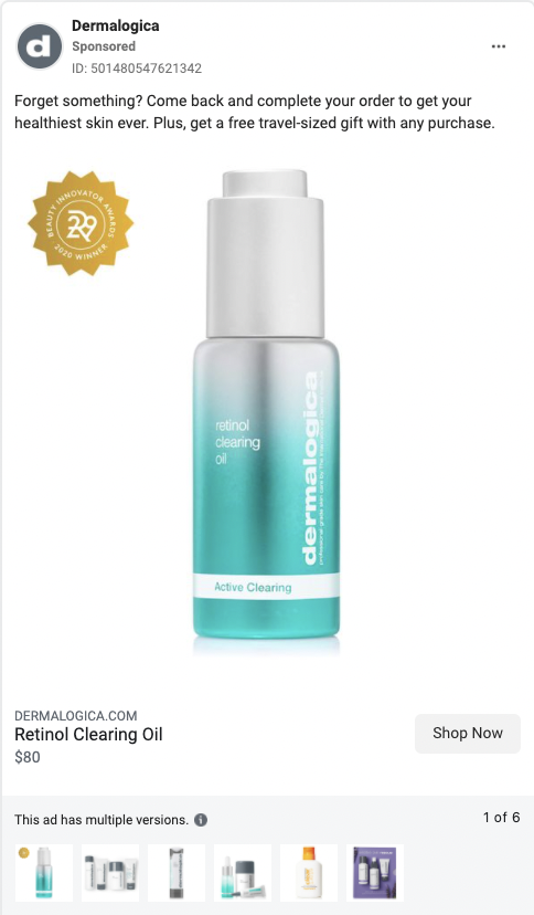 Dermalogica best Facebook conversion ad examples