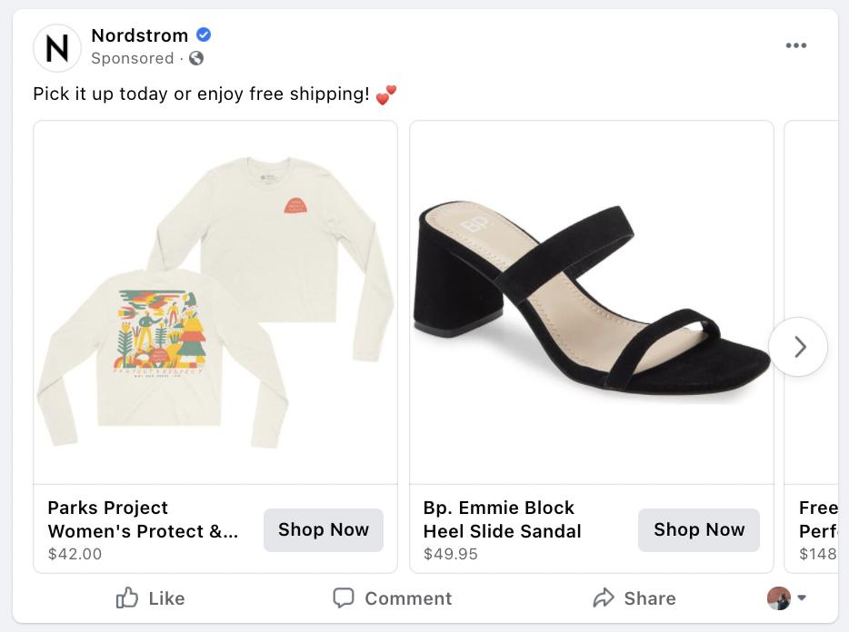 Nordstrom retargeting Facebook Ad Example