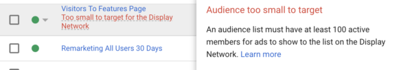 The Features Page doesn't have enough visitors for remarketing