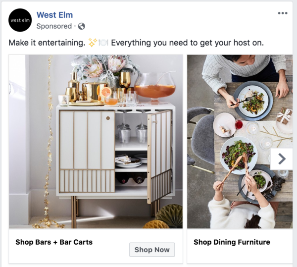 West Elm is showing lines of furniture in a carousel ad that I may want to buy.