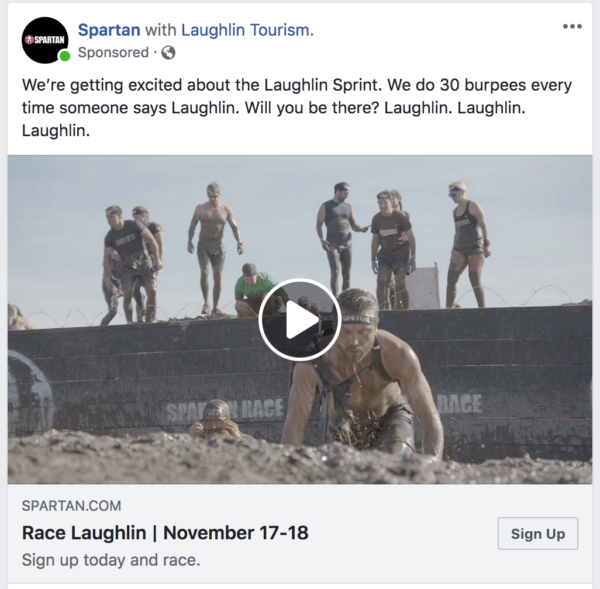 A video ad by Spartan is a great way to show me what I can expect at the Laughlin Sprint. (Looks like I can expect… mud.)