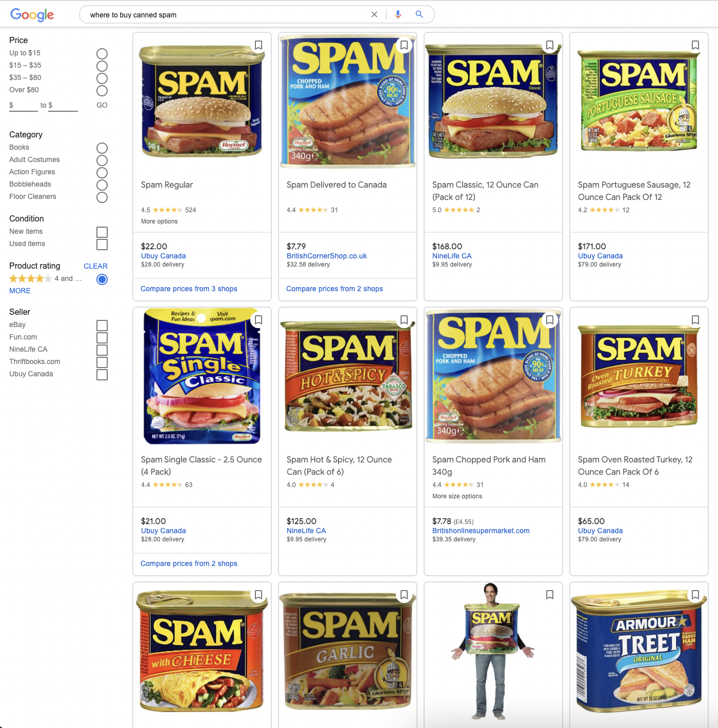 Shopping tab for my query about Spam