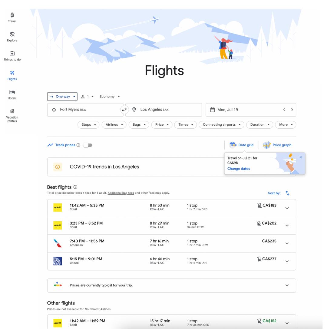 Flights tab