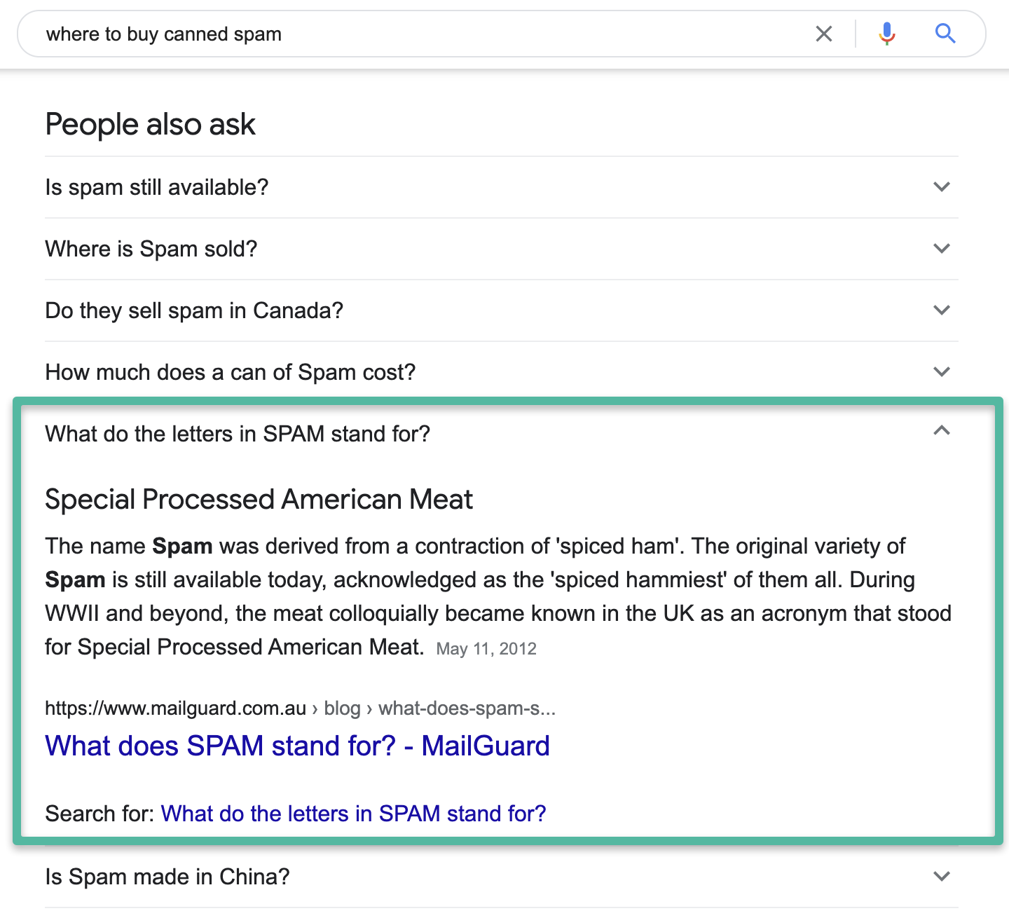 People also ask: Selecting one of the down arrows opens up more information that looks similar to a featured snippet