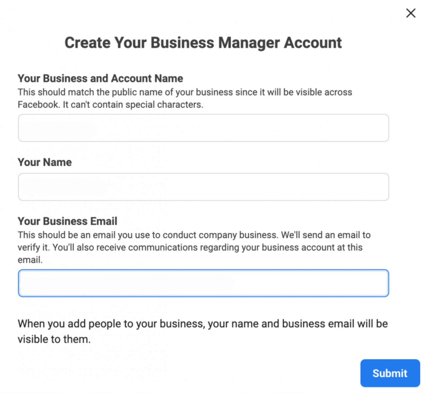 facebook business manager create account
