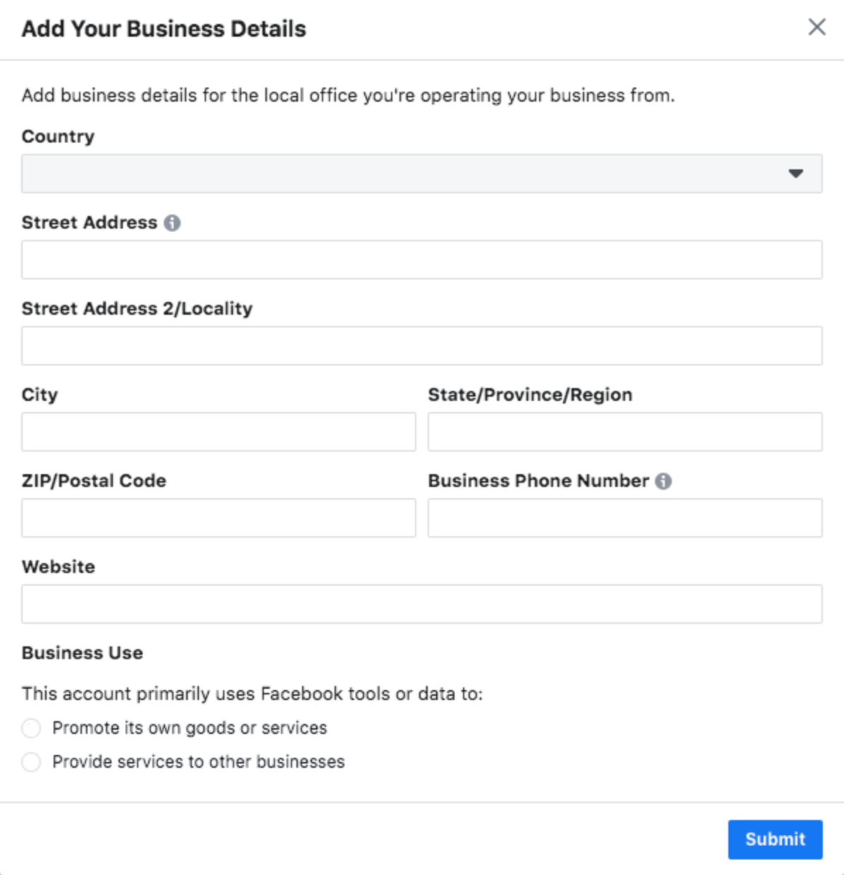 facebook business manager add your business details