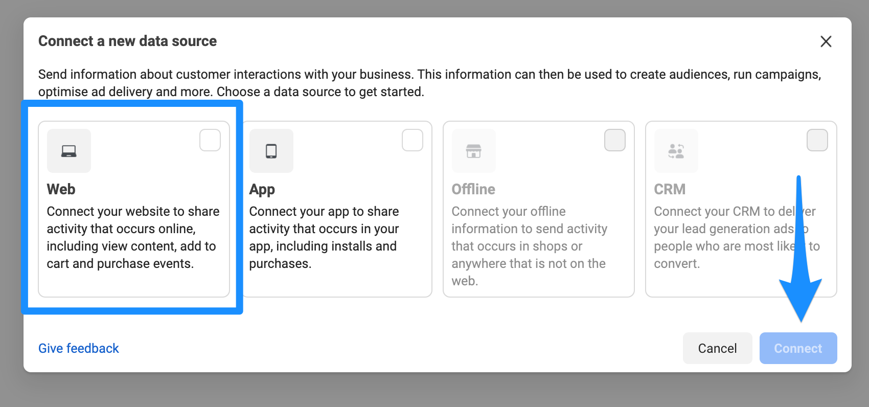 Connect Web to share activity