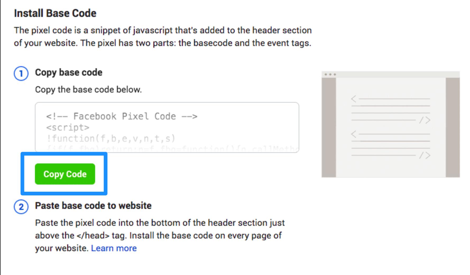 Manually installing Facebook Pixel
