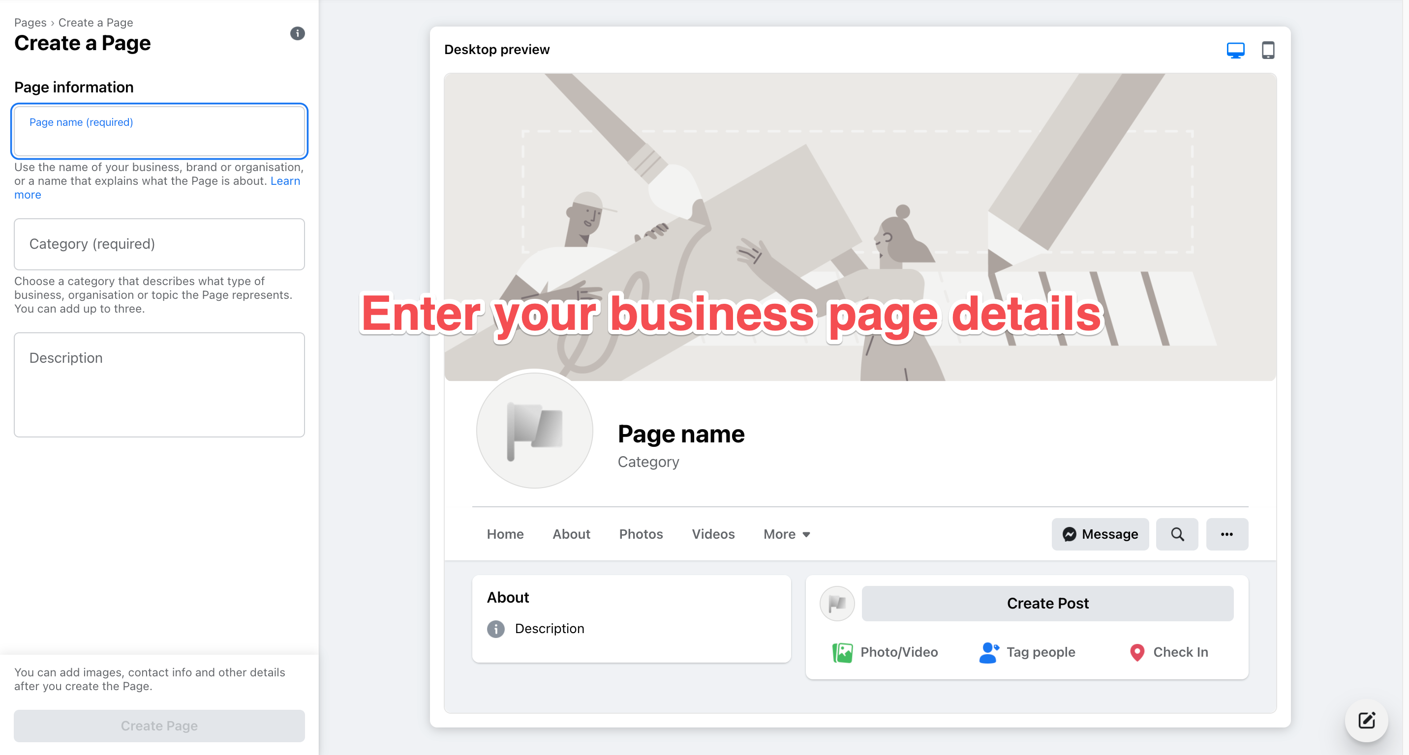 facebook marketing create page
