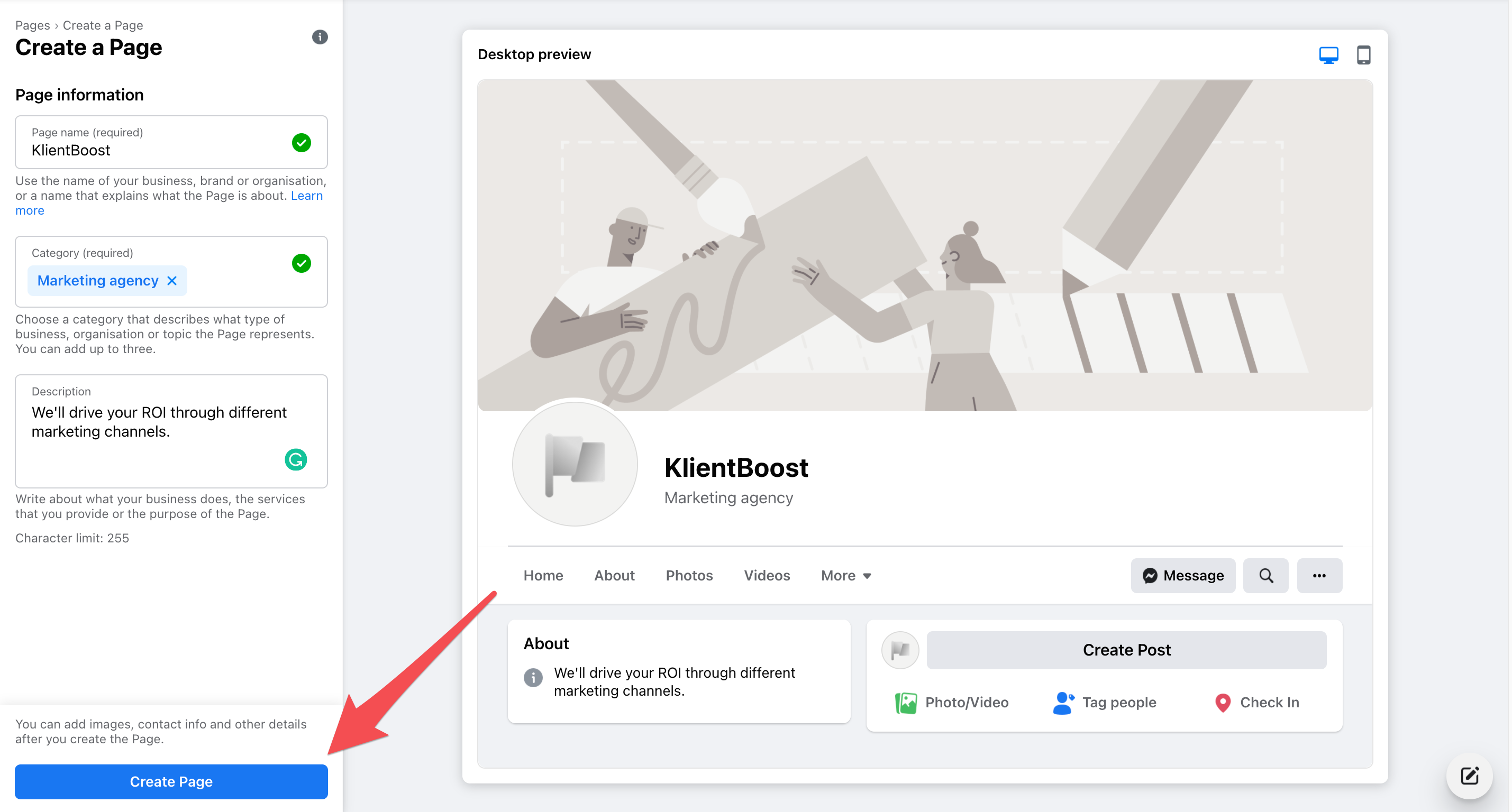 facebook marketing new page info inputed