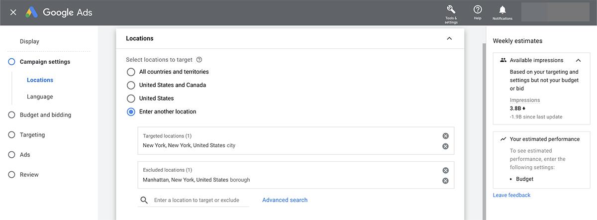 Google Ads location targeting