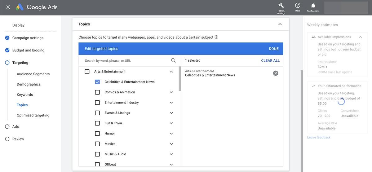 Google Ads topic targeting