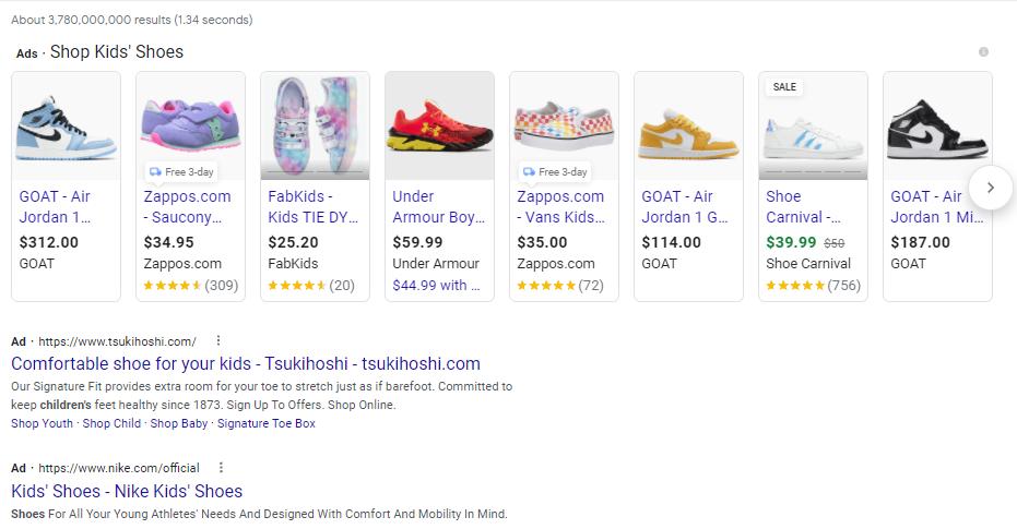 Google Shopping Ad SERP