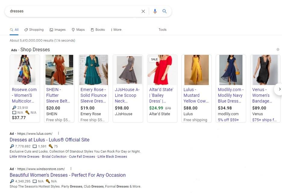 Google Shopping SERP for dresses