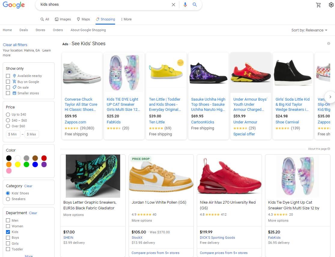 Kids shoe Shopping Ads Google SERP