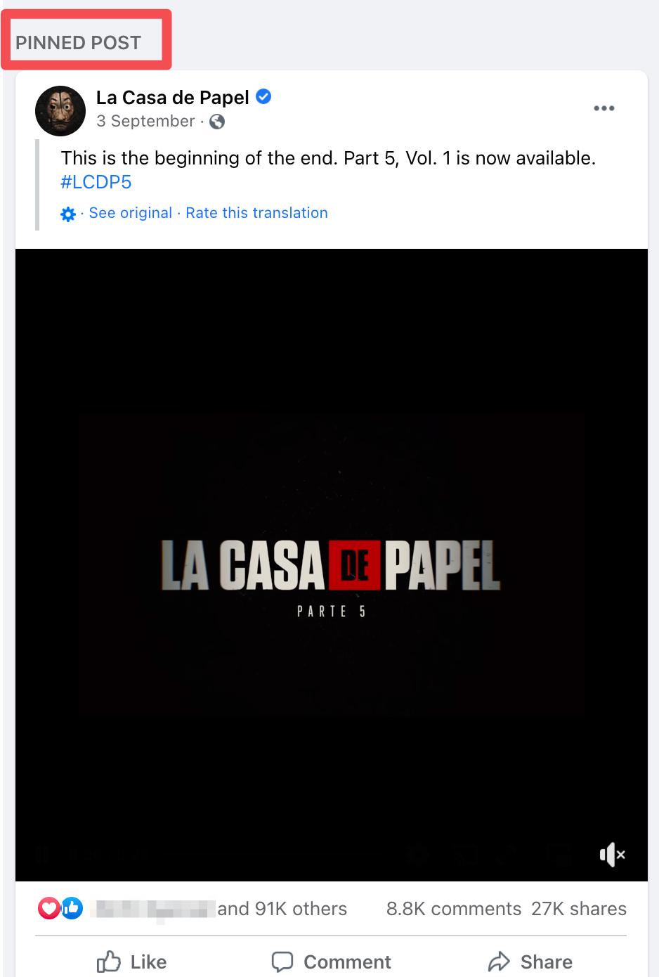 facebook marketing la casa de papel pinned post