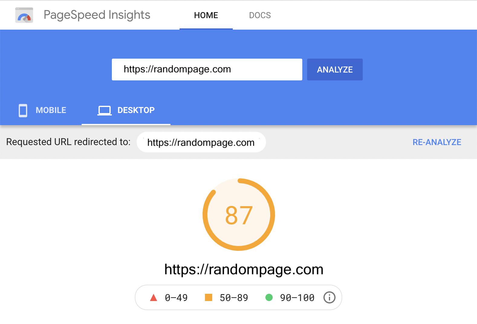 Desktop page speed