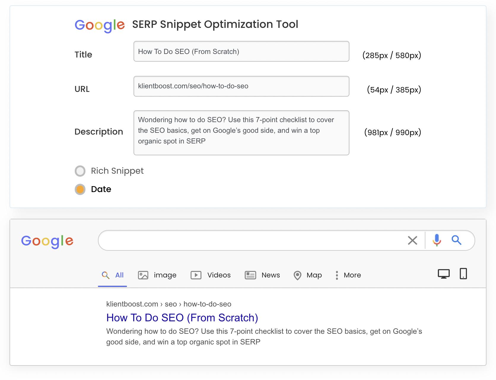 SERP snippet tool