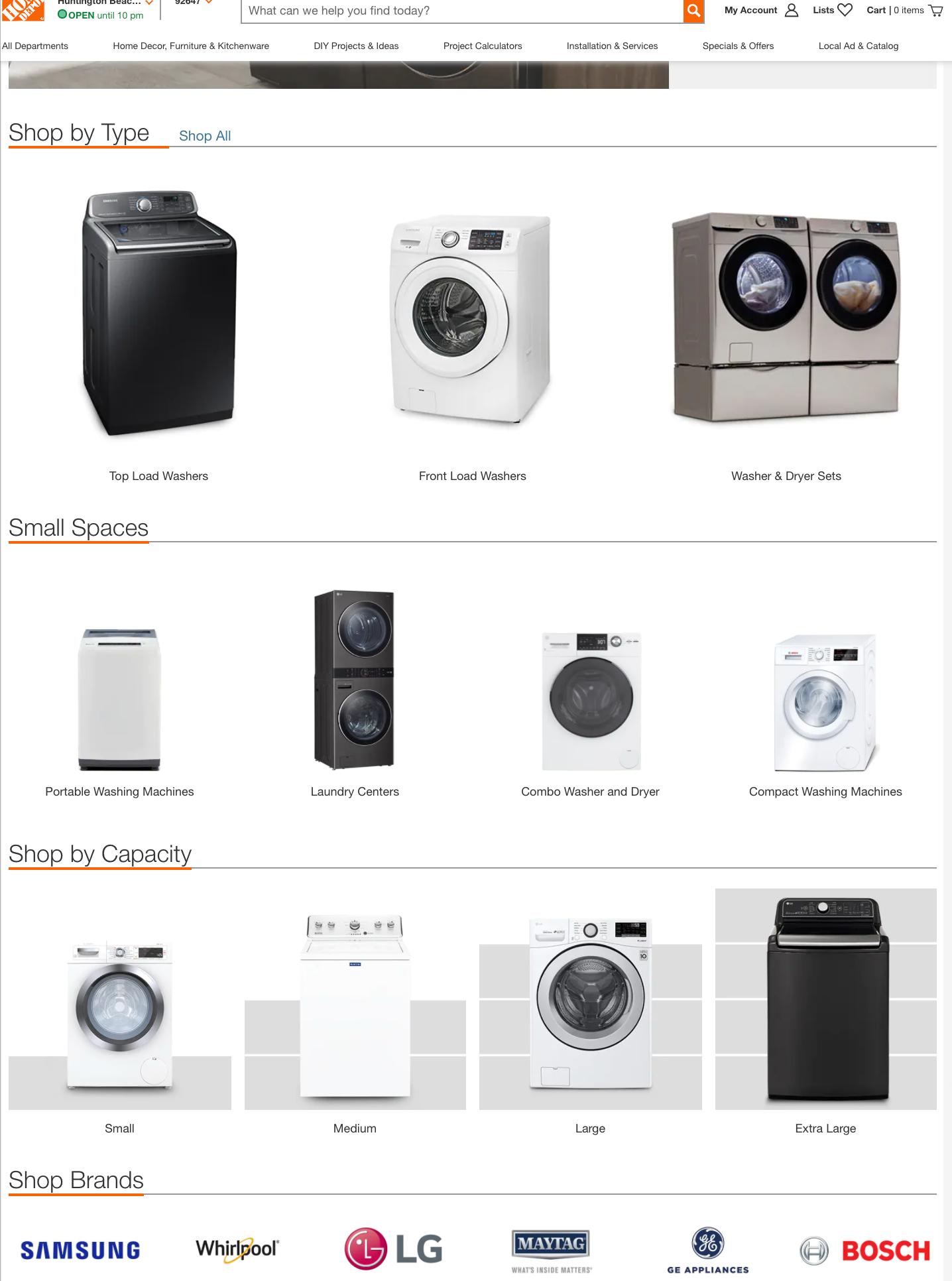 washing machines landing page