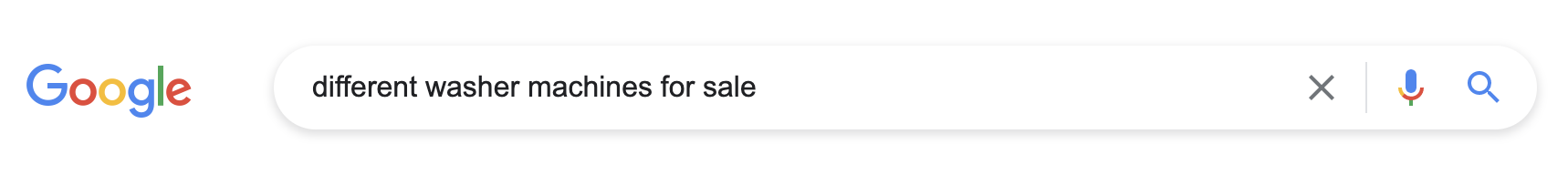google search for washer machines
