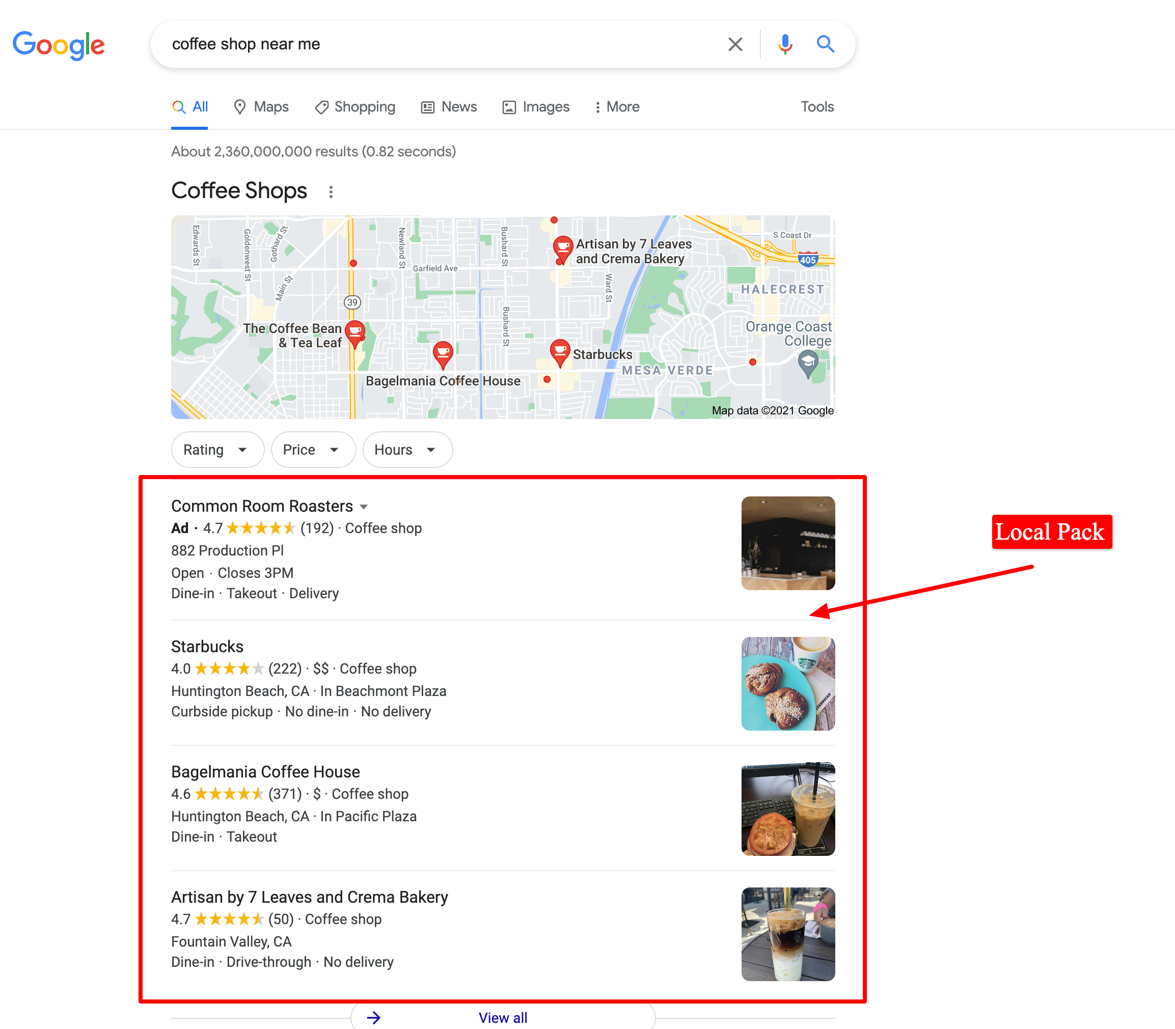 Example of a local pack that shows with a local keyword