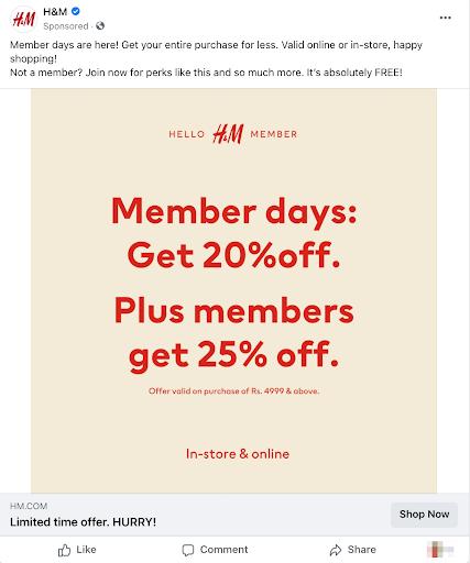 facebook marketing h&m ad