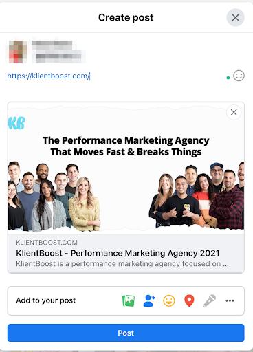 facebook marketing klientboost post
